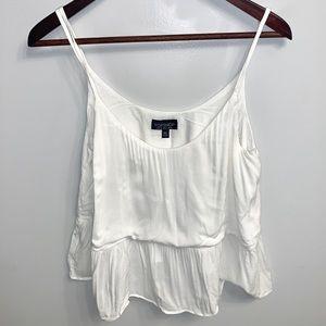 Topshop feminine white ruffle tank top